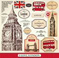 Set hand drawn london symbols labels tags vintage style Royalty Free Stock Photography