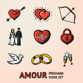 Set of hand drawn Love Amour icons with - heart arrow, two hearts, cupid bow, couple, pulse, locker, bird, rings