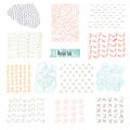 Set of hand drawn marker and ink patterns. Simple vector scratchy textures with dots, strokes doodles