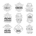 Set Of Hand Drawn Monochrome Circus Show Promotion Signs In Pencil Sketch Style With Calligraphic Text And Detailed