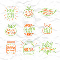 Set of hand drawn natural badges and labels vector