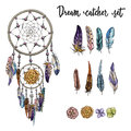 Set of hand drawn ornate Dreamcatcher, flowers and feathers isolated on white background. Vector Illustration