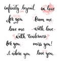 Set of hand drawn phrases about love in love i adore you miss infinity beyond me for from me with photo Royalty Free Stock Photo