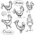 Set of a hand drawn roosters and chickens. Scetch illustration. Black outline on white background