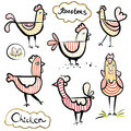 Set of a hand drawn roosters and chickens. Scetch illustration. Striped ornament.