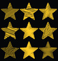 Set Of Hand Drawn Scribble Gold Stars, Icon Vector Design Set 1