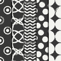 Set of hand drawn seamless pattern with black grunge rings, circle. Wrapping paper. Abstract vector background. Brush