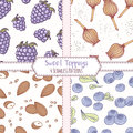 Set of hand drawn seamless patterns with blackberry, poppy, almond and blueberry. Sweet toppings backgrounds