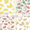 Set of hand drawn seamless patterns with lemon, pistachio, chocolate and mint. Sweet toppings backgrounds