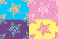 Set of hand drawn seamless patterns with stars.
