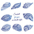 Set of hand drawn seashell with ethnic motif. Abstract zentangle stylized cockleshells. Ocean life doodle collection. Vector illus