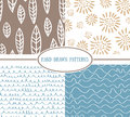 Set of hand-drawn simple seamless patterns