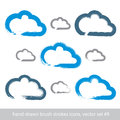 Set of hand-drawn simple stroke vector cloud icons