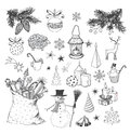 Set of hand-drawn sketchy christmas elements. Royalty Free Stock Photo