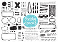 Set of hand drawn sketchy elements, brush strokes. Royalty Free Stock Photo