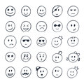 Set of hand drawn smiley, funny faces with different expressions