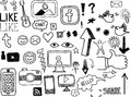 Set of hand drawn social media related doodles an illustration a Stock Images
