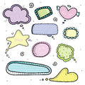 Set of hand drawn speech thought bubbles. Colorful cute elements