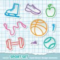 Set hand drawn sport symbols torn paper page vector eps Royalty Free Stock Images