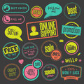 Set of hand drawn style badges and elements on bla Royalty Free Stock Images