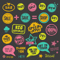 Set hand drawn style badges stickers blackboard Royalty Free Stock Image
