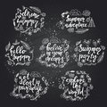 Set of hand drawn summer themed phrases.
