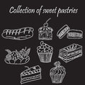 Set of hand-drawn sweet pastries and cupcakes. Bakery shop. Vector icons of sweet bakery. Freehand drawing Royalty Free Stock Photo