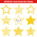 Set of hand-drawn textures star shapes.  Vector Royalty Free Stock Photo