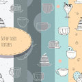 Set of hand-drawn textures with tea and coffee cups and cakes. Vector illustration made in pastel colors, in six different tone va Royalty Free Stock Photo