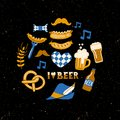 Set of Hand drawn traditional Beer fest attributes on grunge background. Craft beer print. Royalty Free Stock Photo