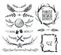 Set of hand drawn tribal frames and dividers. Forest design. Royalty Free Stock Photo