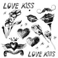 Set of hand drawn valentine design elements black and white with hearts flowers and lips Royalty Free Stock Image