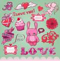 Set of hand-drawn valentine's elements for design Royalty Free Stock Images