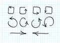 Set of hand-drawn vector arrow doodles Royalty Free Stock Photo