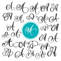 Set of Hand drawn vector calligraphy letter A. Script font. Isolated letters written with ink. Handwritten brush style