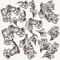 Set of hand drawn vector filigree swirls for design Royalty Free Stock Photo