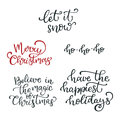 Set of hand drawn vector quotes.Let it snow. Merry Christmas. Ho Royalty Free Stock Photo