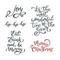 Set of hand drawn vector quotes. Merry Christmas .Joy. Eat, drink and be merry Isolated calligraphy on white background. Royalty Free Stock Photo