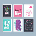 Set of hand drawn watercolor birthday greeting cards Royalty Free Stock Photo