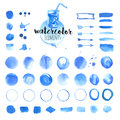 Set of hand drawn watercolor elements, brushes, splash, frames, stains, ribbons, pattern and background Royalty Free Stock Photo