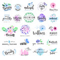 Set of hand drawn watercolor labels and badges for beauty,