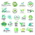 Set of hand drawn watercolor labels and badges for cosmetics and health care