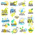 Set of hand drawn watercolor labels and signs of lemon and lemonade Royalty Free Stock Photo