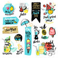 Set of hand drawn watercolor ribbons and stickers of summer