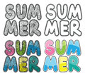Set of hand drawn word summer. Colorful illustration, with ornament line and circles.
