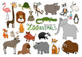Set of hand-drawn zoo animals Royalty Free Stock Photo