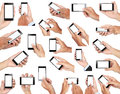 Set of hand holding mobile smart phone with blank screen Royalty Free Stock Photo