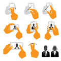 Set of hand holding upright mobile phone flat and style icons isolated on white Stock Images