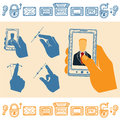 Set of hand holding upright mobile phone with man on screen flat style icons and line Stock Images