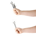 Set of hand holding a wrench tools composition isolated over the white background worker s caucasian male Stock Photo